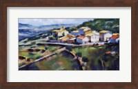 Framed Hillside Village 16.5x25