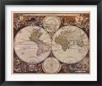Framed New World Map, 17th Century