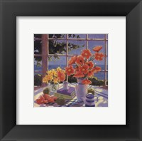 Framed Red Poppies and Green Apples