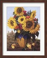 Framed Sunflowers Over Castle Ruin