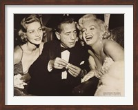 Framed Hollywood Triangle (Bacall, Bogart, Monroe)