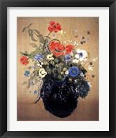 Framed Blue Vase of Flowers