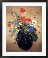 Framed Blue Vase of Flowers