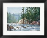 Framed Wading Up a River