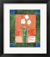 Framed White Flowers on Orange