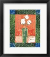 Framed White Flowers on Orange