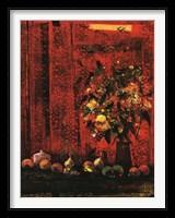 Framed Mesa Con Mantel Rojo