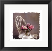 Framed Old Chair With Peonies