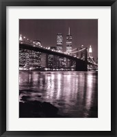 Framed Night View Brooklyn Bridge and Skyline