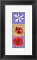Ladybug Flowers Panel Framed Print