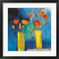 Framed Cadmium Orange Poppies on Blue