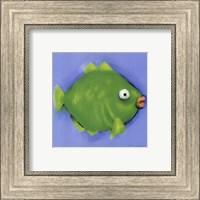 Framed Green Pucker Fish