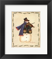 Framed Snowman Playing Fiddle