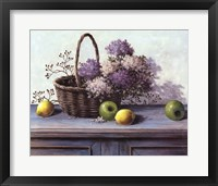Framed Basket of Purple Flowers