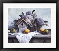 Framed Birdhouse, Hydrangea, Apple