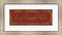 Framed Live Laugh Love - red