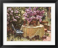 Framed Garden Table with Blue Chair