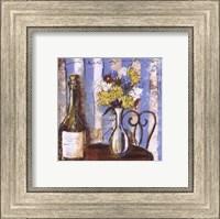 Framed Wine and Flowers I