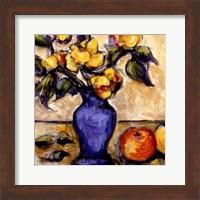 Framed Blue Vase Of Yellow Peonies