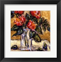 Vase Of Red Peonies Framed Print