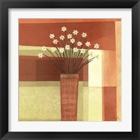 Framed Floral Geometry In Orange
