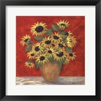 Framed Yellow Sunflowers In French Vase