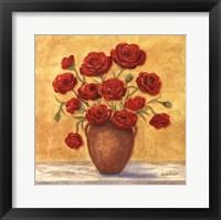 Framed Red Ranunculus In French Vase