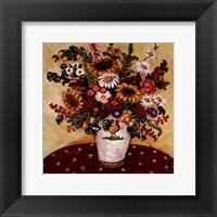 Framed Rooster Vase Floral