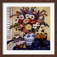 Framed Ann's Favorite Blue And White Floral