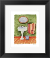 Framed Sink With Striped Towels