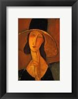 Framed Jeanne Hebuterne With Hat
