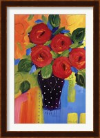 Framed Spring Blooms In Blue Vase II
