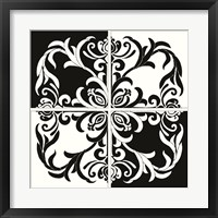 Framed Damask Silhoute I