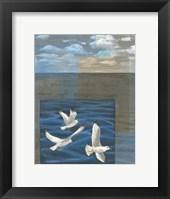 Framed Three White Gulls I