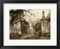 Framed Sepia Garden View I