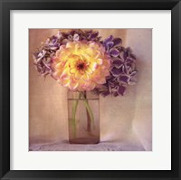 Framed Dahlia With Hydrangeas I