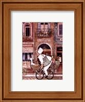 Framed Chef On Bike