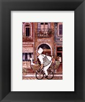 Framed Chef On Bike