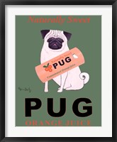 Framed Pug Orange Juice