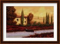 Framed Al Tramonto Sul Fiume