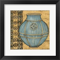 Square Cerulean Pottery I Framed Print