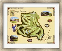 Framed Golf Course Map-Augusta