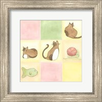 Framed Tic-Tac Cats In Pink