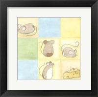 Framed Tic-Tac Mice In Blue