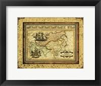 Framed Crackled Map Of Asia