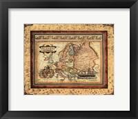 Framed Crackled Map Of Europe