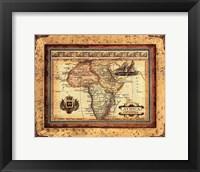 Framed Crackled Map Of Africa