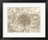 Framed Sepia Map Of Paris