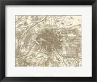 Sepia Map Of Paris Framed Print