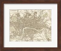 Framed Sepia Map Of London